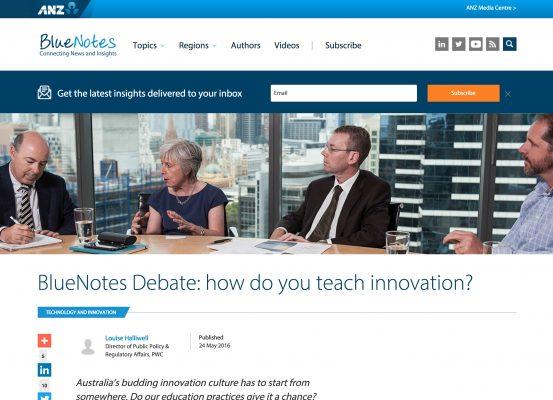 ANZ Bluenotes – BlueNotes Debate: how do you teach innovation?