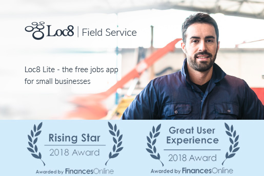 Loc8 Press Releases This year again Loc8 wins 2018 Great User Experience & Rising Star Awards for Field Service Management Software from FinancesOnline Directory
