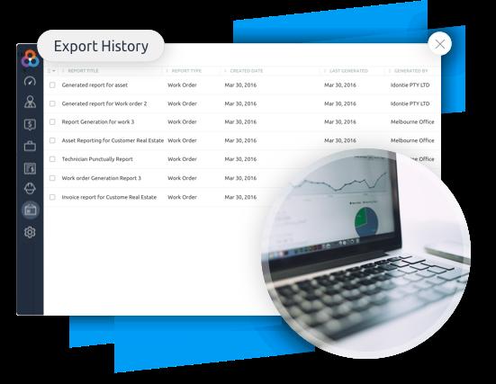 Reporting software export job data