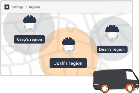 Job dispatching app trade regions