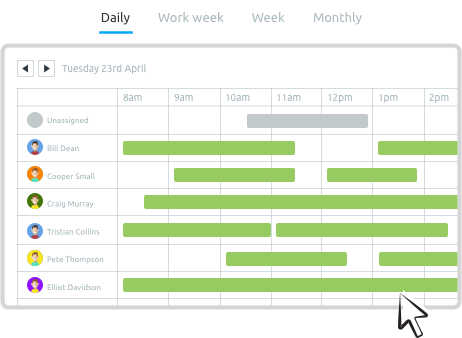 Job dispatching software easy calendar view